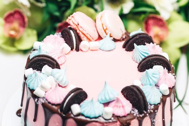 Gâteau rose et bleu décoré de biscuits, de meringues et de macarons, avec des taches d'enrobage au chocolat.