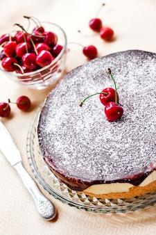 Gâteau soufflé au lait d'oiseau, recouvert de glaçage au chocolat et décoré de cerises juteuses mûres
