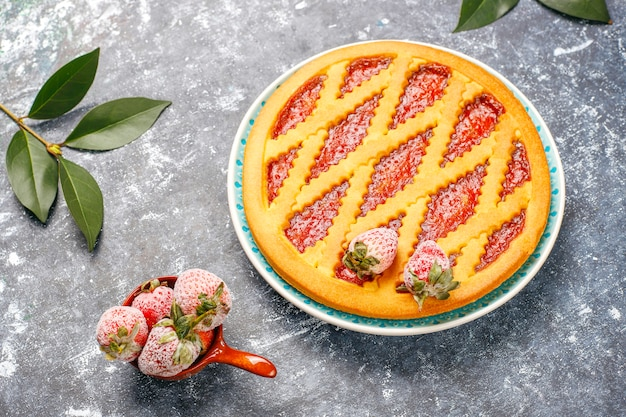 Gâteau tarte à la confiture de fraises au four