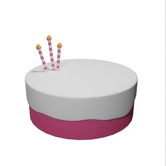 Gâteau vanille fraise 3d sur fond blanc