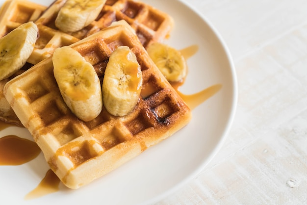 Gaufre à la banane avec caramel