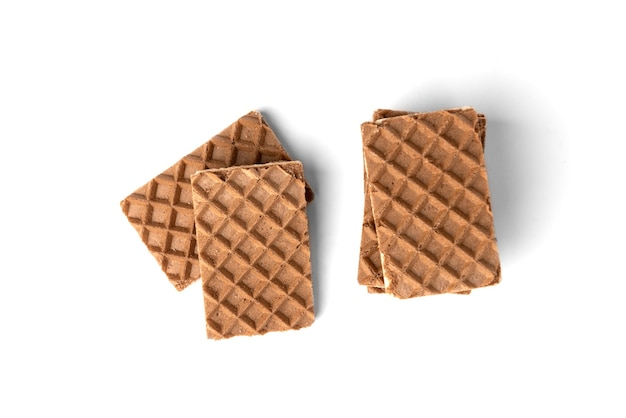 Gaufres au chocolat avec remplissage de lait isolated on white