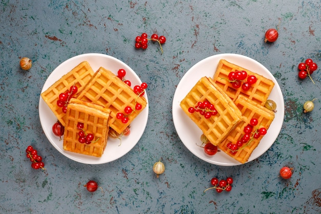 Gaufres carrées belges aux fruits de nèfle et miel