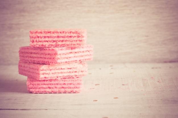 Gaufres roses avec filtre effet rétro style vintage