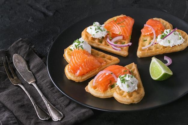 Gaufrette au saumon salé