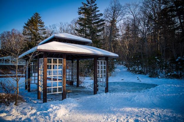 Gazebo de style asiatique dans le parc enneigé en saison d'hiver