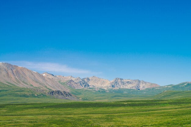 Géant des montagnes de neige au-dessus d'une vallée verdoyante sous un ciel bleu clair.