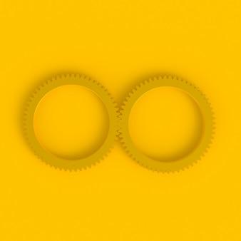 Gear abstraite fond jaune minimal, rendu 3d