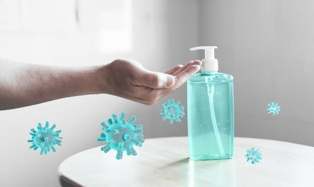 Gel désinfectant pour les mains contre le coronavirus