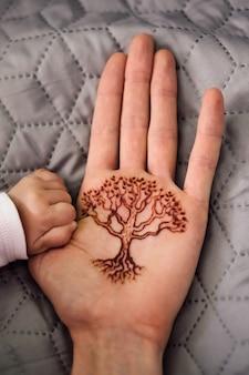 Générations familiales adultes et enfants mains et arbre de vie