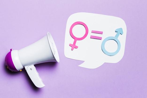 Le genre féminin et masculin signe l'égalité
