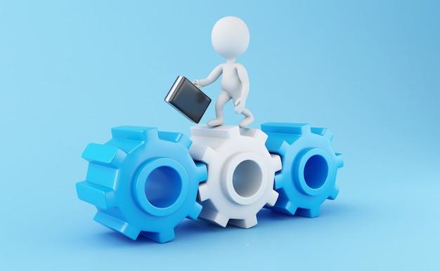 Gens d'affaires 3d blanc avec mallette dans la roue dentée