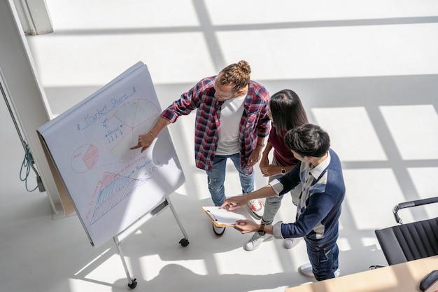 Gens d'affaires asiatiques et multiethniques avec costume décontracté travaillant avec brainstorming