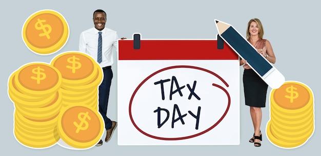 Gens d'affaires avec jour de taxe