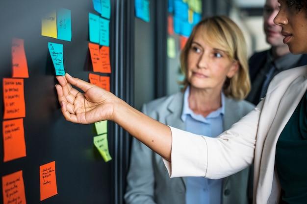 Les gens d'affaires planifient des tâches avec des notes autocollantes