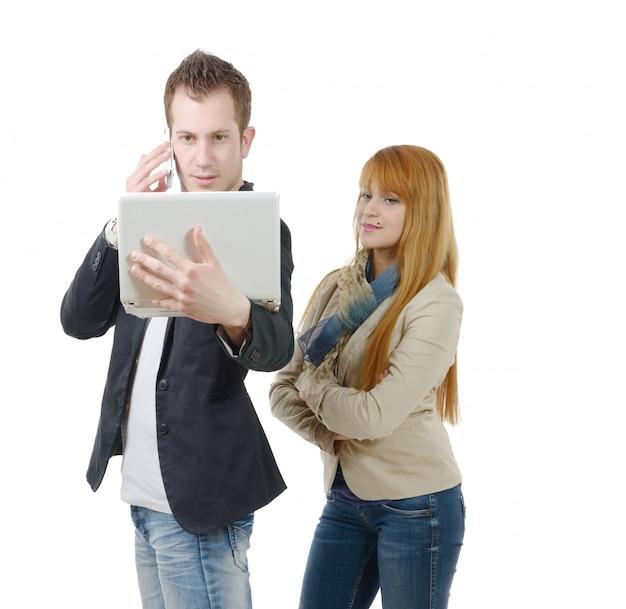 Gens affaires, travailler ensemble, à, a, ordinateur portable, et, téléphone, blanc