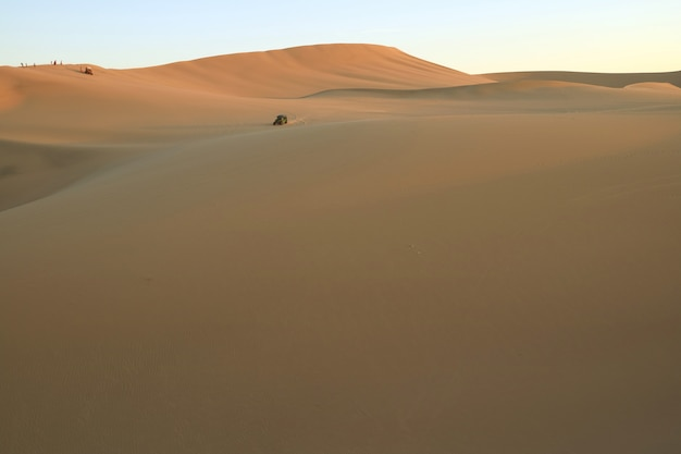 Les gens apprécient un buggy sur l'immense désert de huacachina, ica, pérou, amérique du sud