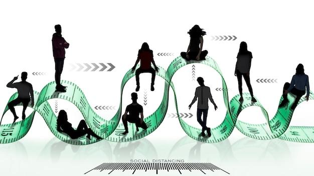 Les gens gardent la distance avec le concept de mesure d'échelle de règle. les gens gardent leurs distances en raison du risque d'infection et de maladie avec le coronavirus ou covid-19. distanciation sociale.