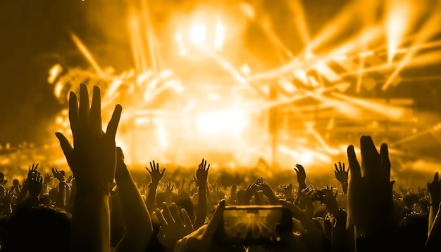 Des gens heureux dansent dans un concert de soirée en boîte de nuit
