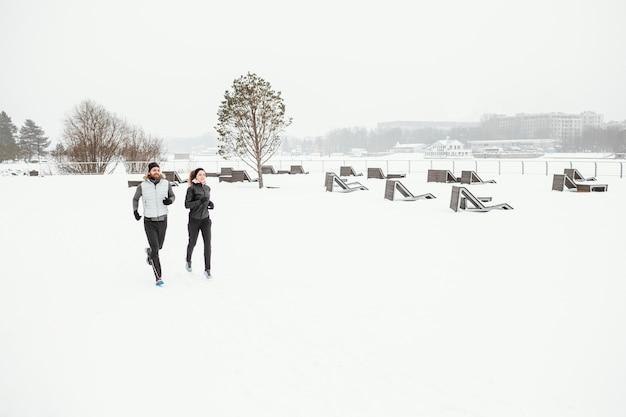 Les gens de loin qui courent dans la nature pendant l'hiver