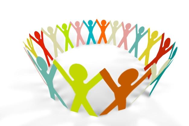 Les gens de papier coloré dans un cercle se tenant la main
