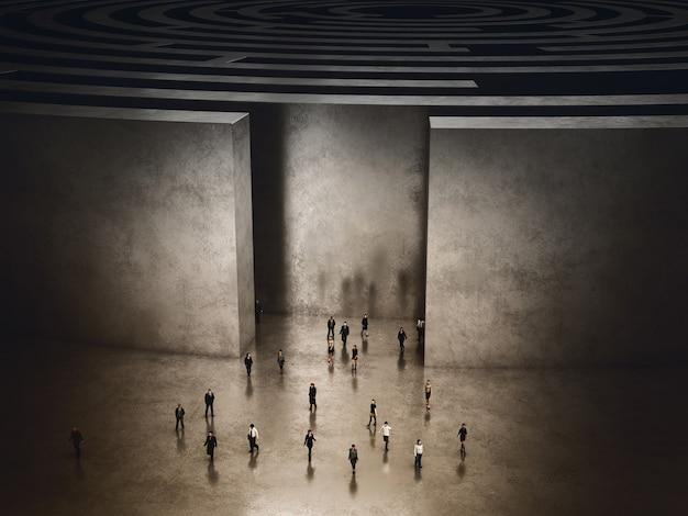 Des gens qui sortent d'un labyrinthe compliqué