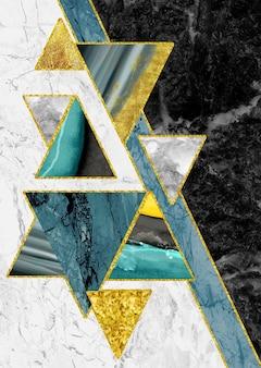 Géode de résine et triangles abstrait art de marbre art fonctionnel comme la peinture de géode à l'aquarelle