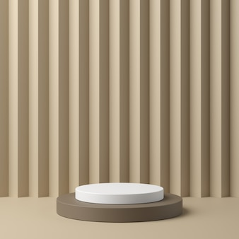 Géométrie abstraite forme podium de couleur blanche et beige sur fond de couleur beige pour le produit. concept minimal. rendu 3d