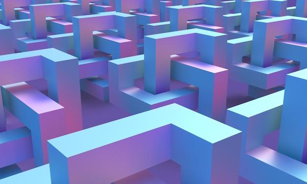 Géométrie cubique d'une figure infinie bleue et magenta