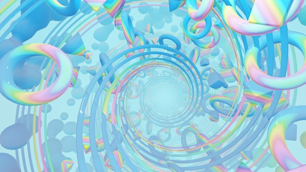 Géométrie holographique abstraite avec cercles radiaux dans une scène rétro et holographique des années 80