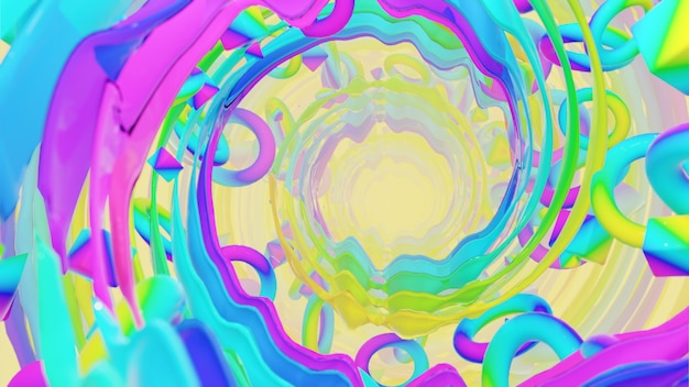 Géométrie holographique avec fond radial pour la publicité dans la scène rétro et holographique des années 80