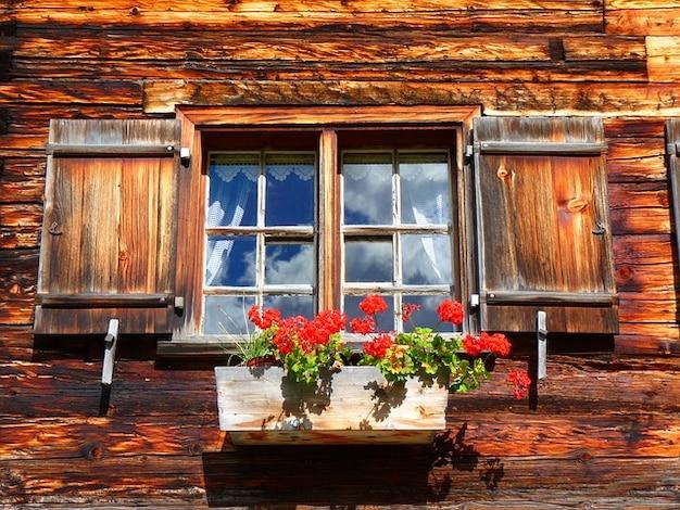 Géranium ferme la fenêtre de vieux bois
