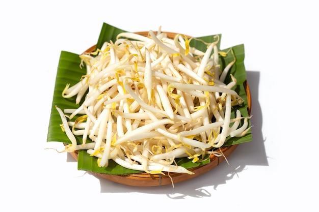 Germes de soja sur des feuilles de bananier dans un panier en bambou