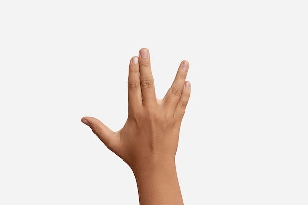 Geste de la langue des signes isolé sur blanc