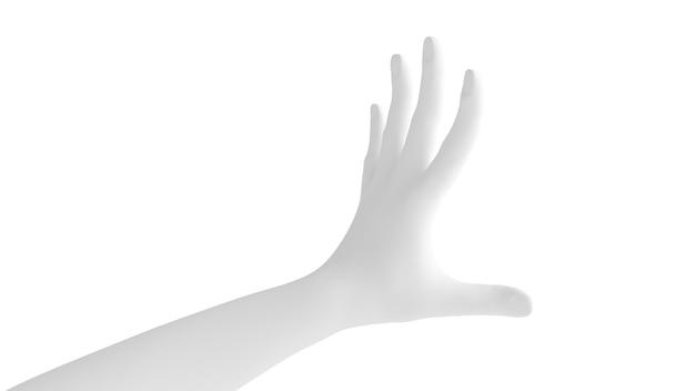 Geste de la main 3d fond blanc. rendu 3d, illustration 3d.