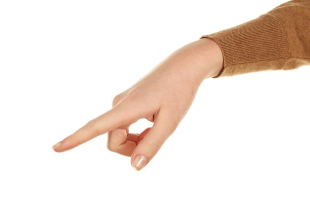 Geste de la main féminine sur blanc