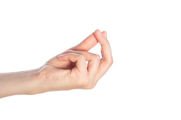 Geste de la main féminine où est mon argent isolé