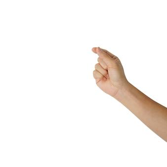 Geste de la main de l'homme pour tenir une maquette vierge (ajouter une carte ou du contenu) isolé sur la couleur blanche