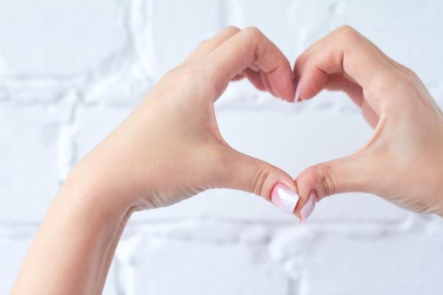 Geste de la main isolé sur fond de mur de briques blanches
