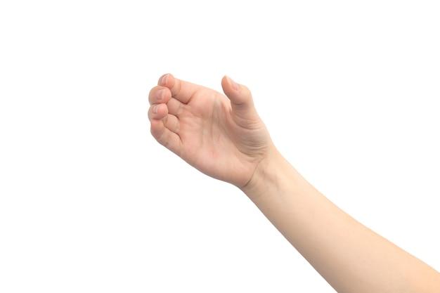 Geste de la main tenant quelque chose, isolé sur fond blanc, gros plan de la main jeune femme