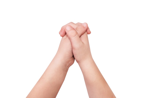 Geste des mains jointes avec une serrure sur fond blanc