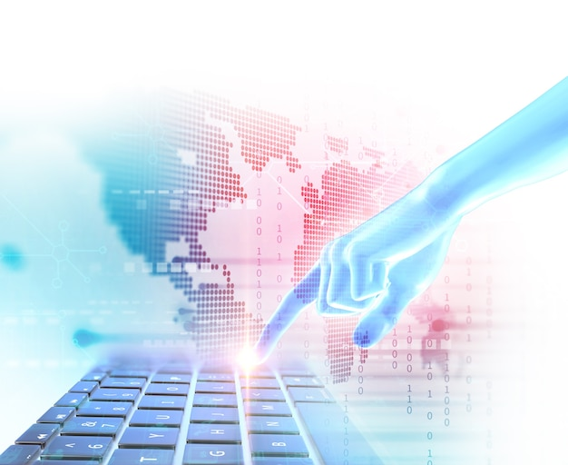 Geste tactile de la main sur l'élément de technologie futuriste