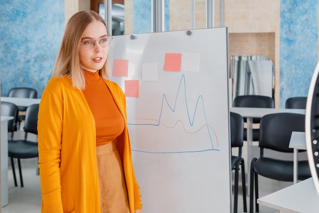 Le gestionnaire fait une présentation lors d'une réunion en ligne dans un bureau vide. femme debout près du graphique sur tableau blanc. gestion d'équipe de travail à distance. enseignant ou étudiant entraîneur faisant une formation en ligne en direct.