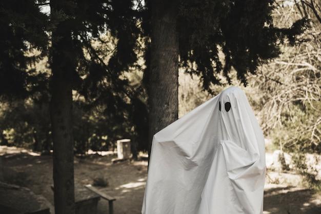 Ghost se propager des bras près d'un arbre dans un parc