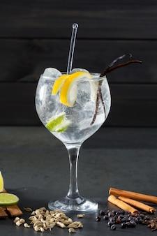 Gin tonic cocktail à la lima et de nombreuses épices