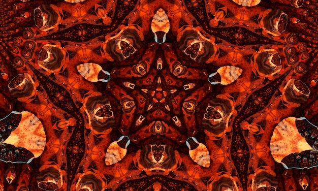 Gingembre groovy kaléidoscope motif abstrait sans couture avec des éléments lumineux kaléidoscopiques ronds.