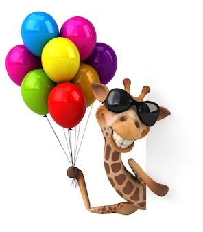 Girafe 3d drôle avec des ballons