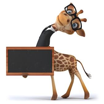 Girafe amusante tenant un tableau noir