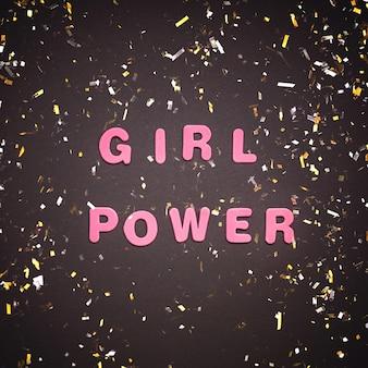 Girl power écrit sur une surface noire