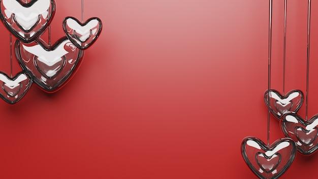 Glace amour fond rouge pour la saint valentin